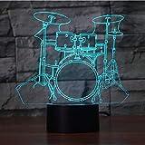 Juego de batería creativa Lámpara 3D 7 Cambio de color Interruptor táctil LED Luces de luz nocturna 3D Instrumentos musicales Lámpara de ambiente Regalo de San Valentín