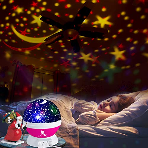 Night Lights for Kids Star Light Projector Stars & Moon Roof-Christmas Gifts - Boys/Girls Bedroom Lights Toys - Room Ceiling Decor - Space Nightlight Projection (Pink)