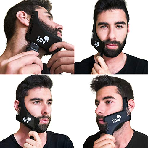 The Beard Black Beard Shaping & Styling Tool with inbuilt Comb for Perfect line up & Edging, use with a Beard Trimmer or Razor to Style Your Beard & Facial Hair, Premium Quality Product
