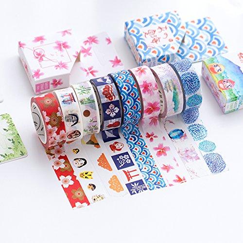 Decorativo Washi giapponese e nastro adesivo–Set di 8rotoli di colore orientale