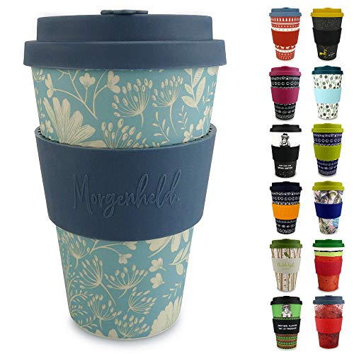 Morgenheld Dein trendiger Bambusbecher | Coffee-to-Go-Becher | Kaffeebecher mit Silikondeckel und Banderole in coolem Design 400 ml (Flower)