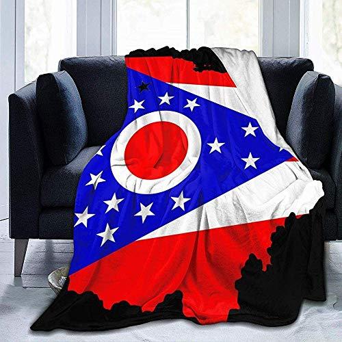 Searster$ Throw Blanket Amerikanische Flagge Ohio State Map Fleece Decke Flanell Plüsch Decke Fuzzy Soft Decke Mikrofaser Für Couch Schlafsofa, 102X127 cm