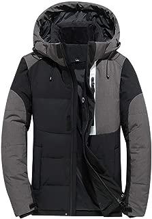 Men's Waterproof Windproof Jacket, Mountain Ski Padded Thermal Patchwork Hoodie