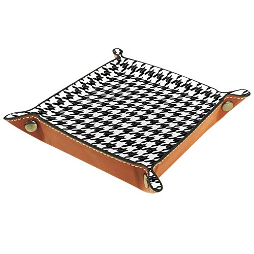 Leather Valet Tray Bedside Storage Organizer Nightstand Desktop Dresser Jewelry Catchall Tray for Key Coin Change Phone Wallet Houndstooth Pattern