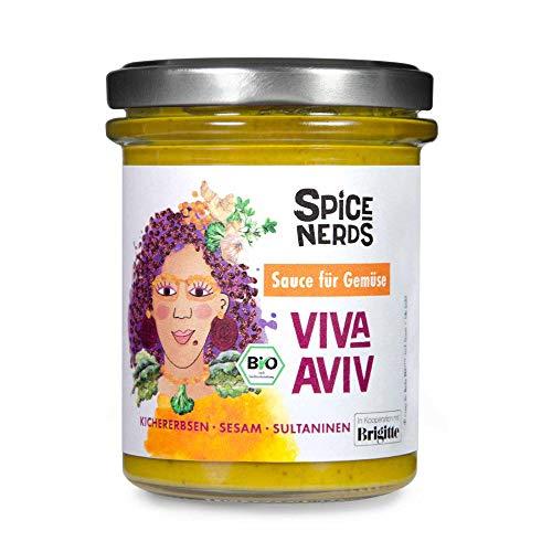 SpiceNerds - Viva Aviv - Israelische Bio-Sauce für Gemüse mit Kichererbsen, Sesam und Sultaninen, 165 ml