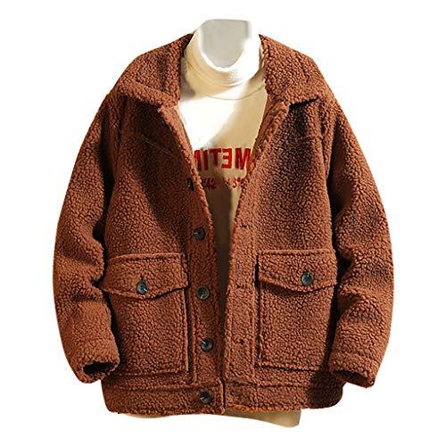MAYOGO Herren Jacke Wolle Winterjacke Teddyfleece Jacke Warm Winter Mantel Fleece Jacke mit Reverskragen, Männer Fleecejacke Wintermantel Coat