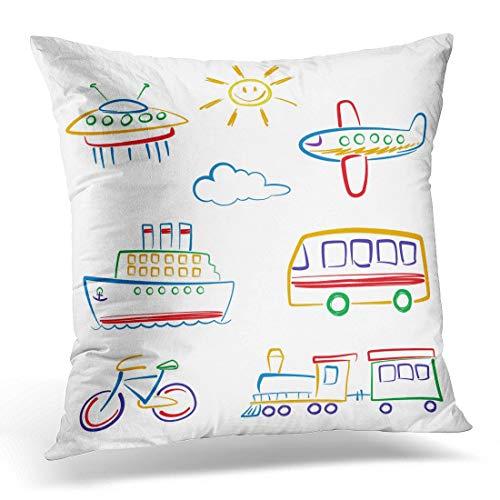 Funda de almohada colorida para niños con dibujo de transporte y camión, funda de almohada decorativa cuadrada de 45,7 x 45,7 cm