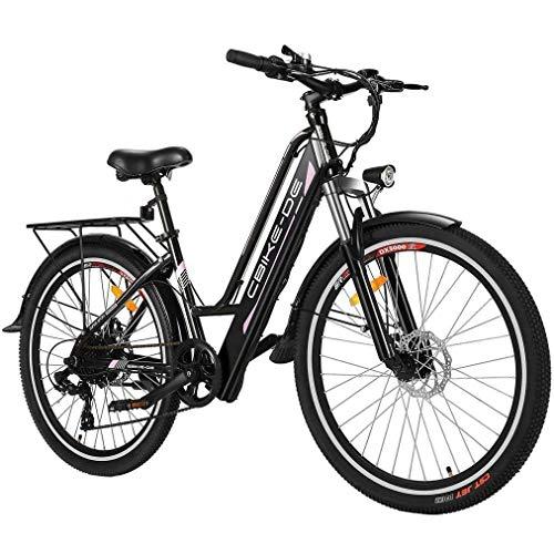 Vivi E-Bike Elektrofahrrad, 26 Zoll 250W Citybike Elektrisches Fahrrad mit 36V 8Ah Lithium-Akku, Professionell 7-Gang (26 Zoll- Schwarz)
