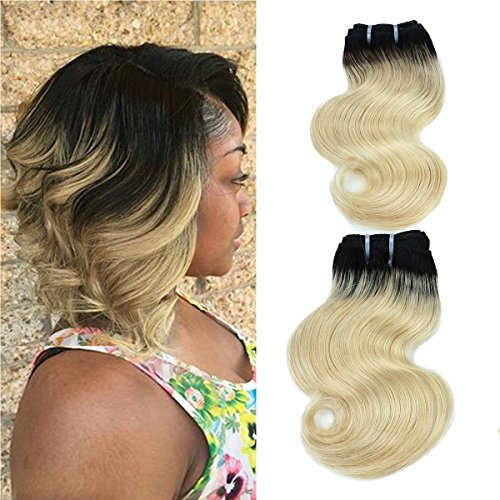 "FASHION LINE 8"" Human Hair 50g Bundles Ombre Blond Two Tone Brazilian Virgin Hair Extensions Body Wave (4 bundles, 1b/613)"
