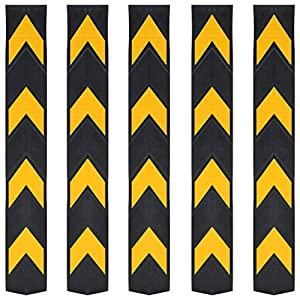 vidaXL-5x-Protectores-Esquina-Reflectantes-Goma-80-cm-Vados-Estacionamiento