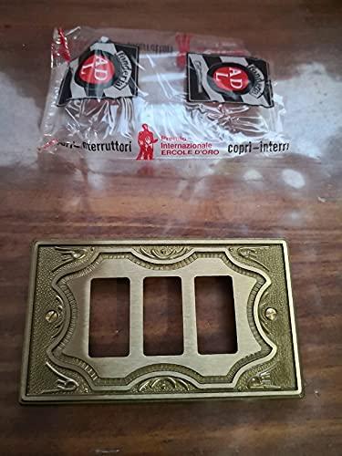 Placca ottone elaborata ADL Fonderia 3 posti/fori per Bticino Magic