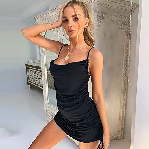 KKMAOMAO Vestidos para Mujer,Cabestrillo Vendaje Drawstring Negro Vestido Corto Diseño De Moda Sexy Señoras Cómodo Y Suave Falda De Verano De Fiesta Cóctel Sundress Empresarial