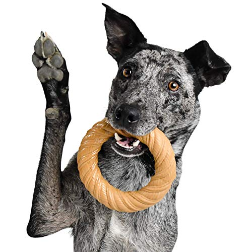 Pet Qwerks BarkBone Chew Ring with Peanut Butter Flavor Dog Chew, Fetch and Tug Toy for Aggressive Chewers, Made in USA - Medium