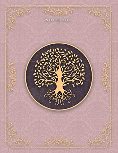 Notebook Golden Hand Drawn Tree Life Luxury Pattern Rosy Brown Background Cover Lined Journal: College Ruled 110 Pages - Large 8