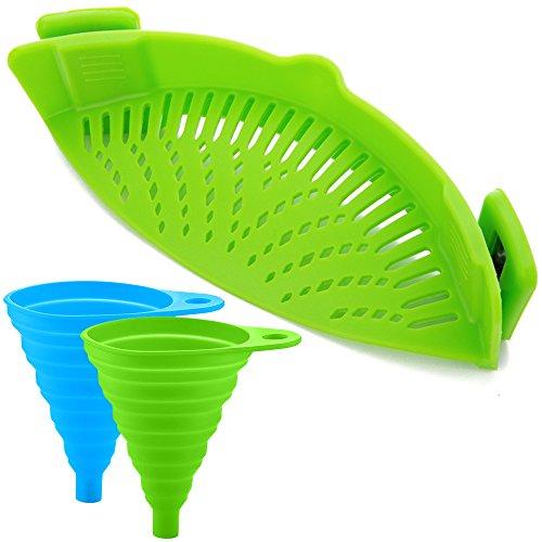 FineGood Silikon-Snap-Sieb mit 2 Zusammenklappbaren Trichtern, Hands-Free Clip-on Hitzebeständiger Colander Pour-Auslauf für Pasta Gemüse-Nudeln Topfschale Pan - Green