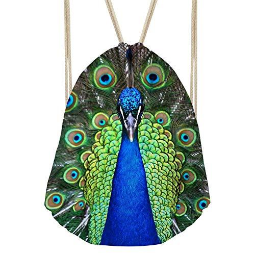 RSHSJCZZY Women Drawstring Bags String Sack for Beach Shopping Fitness Sports Backpack peacock