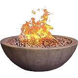 """Bond Manufacturing 67504 Mondavi 36"""" Round 65,000 BTU Faux Concrete Gas Fire Bowl, Height: 12.5&quot, Brown"""