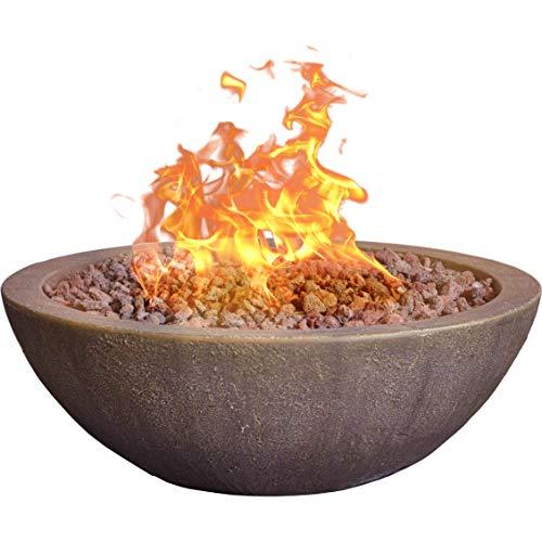 "Bond Manufacturing 67504 Mondavi 36' Round 65,000 BTU Faux Concrete Gas Fire Bowl, Height: 12.5"", Brown"