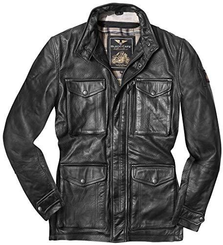 Black-Cafe London Classic Motorrad Lederjacke 52 Schwarz