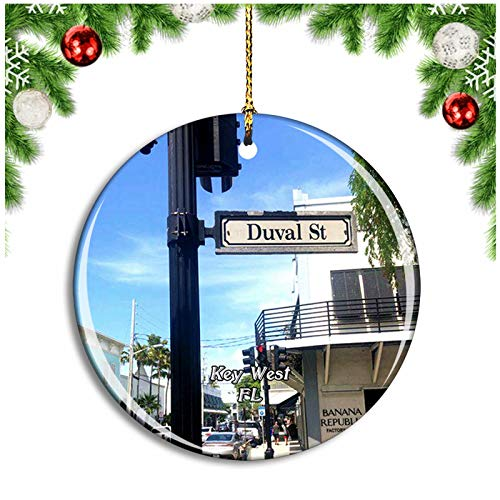 Key West Duval Street Florida USA Christmas Ornament Xmas Tree Decoration Hanging Pendant Travel Souvenir Collection Double Sided Porcelain 2.85 Inch