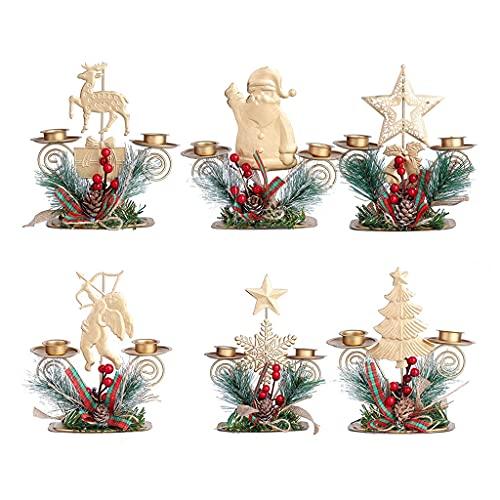 TOSLEJF Navidad vela linterna hierro santa claus copo de nieve vela vela Ao nuevo mesa de comedor decoracin navidea (Color : A, Size : As the picture shows)