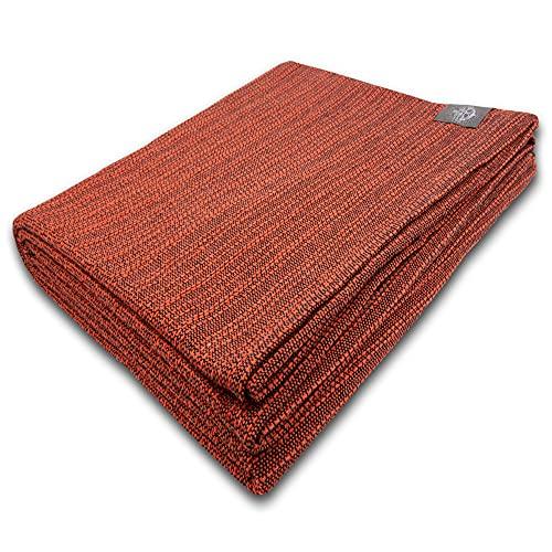 Craft Story Decke Yara I Uni orange aus 100prozent Baumwolle I Tagesdecke I Sofa-Decke I Überwurf I Picknickdecke I Nutz- und Schutzdecke I ca.170 x 220cm