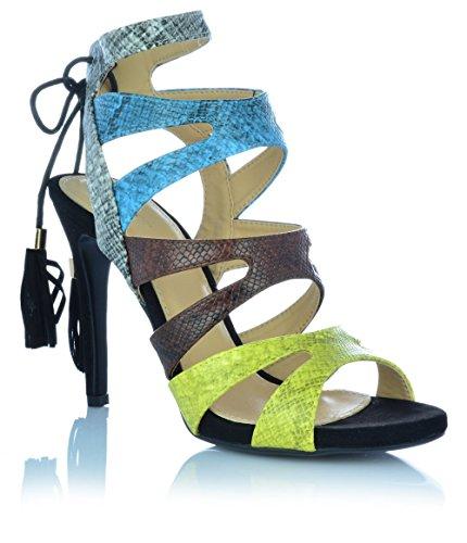 High Heels Sadnaletten Ankle Boots Pumps Abendschuhe Sandalen Fransen Shoes EUR 37 Mehrfarbig