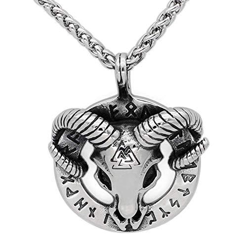 YABEME Collar de Cabeza de Cabra Vikingo Odin, Acero Inoxidable 316L, Joyería Colgante de Amuleto Pagano de Cabra Tribal Nórdica Celta Vintage, Regalo Hecho A Mano