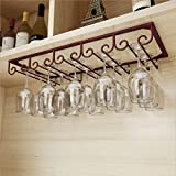 FURVOKIA Under Cabinet Floating 5 Slots Metal Wine Glass Rack,Retro Organizer Storage Shelf,Goblet Drying Holder for Kitchen Office,Holds up to 10-15 Cup Glasses (Red Copper, 20'L x 9'W inch)