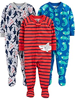 Simple Joys by Carter s Boys  3-Pack Loose Fit Flame Resistant Polyester Jersey Footed Pajamas iguana/sea Creatures/shark 18 Months