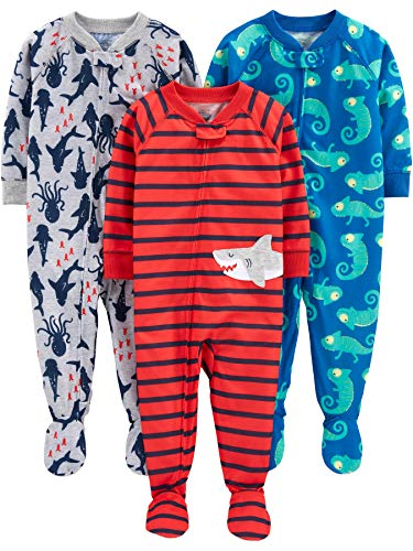 Simple Joys by Carter's Boys' 3-Pack Loose Fit Flame Resistant Polyester Jersey Footed Pajamas, Iguana/sea Creatures/Shark, 12 Months