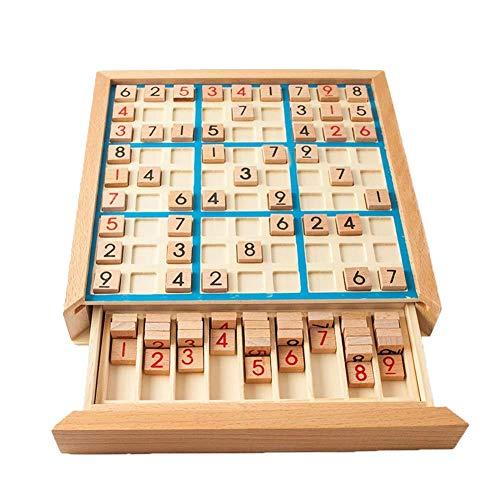 Holz Sudoku Puzzle aus Holz Sudoku-Brettspiel mit Schublade für Kinder Kinder frühe pädagogische Brain Game Blau 1Set