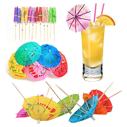 100 PCS Cocktail Umbrellas Mixed Colourful Paper Drink Parasols for Beach Hawaiian Party Accessories,Create the Perfect Tropical Party Atmosphere