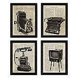 Nacnic Vintage Erfindungen Poster 4-er Set. Vintage Stil