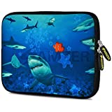 Amzer 7.9 - 10.5 Inches Designer Neoprene Sleeve Case for iPad/Tablet/e-Reader and Notebooks, Sharks Around (AMZ5254105)