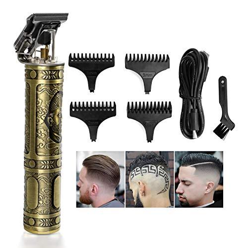 trounistro Haarschneider für Männer, Profi Haarschneidemaschine mit waschbarem R-förmigen Messerkopf, Schnurlos Elektrischer Haarschneider mit 4 Führungskämmen für Männer, Friseure und Stylisten