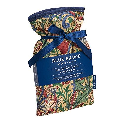 Blue Badge Company 0,5 liter kleine Hot Water fles met gewatteerde katoen gouden lelie cover William Morris