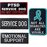 ODSP Service Dog PTSD Do Not Distract, Not All Disabilities are Visible, Emotional Support Emblem Embroidered Fastener Hook and Loop Backing Patches for Vests/Harnesses