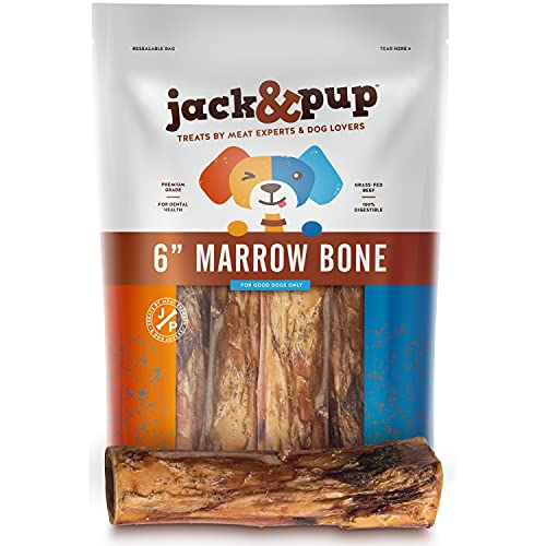 Jack&Pup Dog Bones for Aggressive Chewers (6 Pack) Premium Grade Roasted Marrow Bones for Dogs – 6 inch Dog Bones for Large Dog - All Natural Gourmet Treat Chews – Long Lasting Chew (6 Piece Pack)