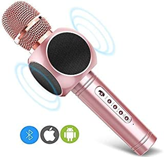 Wireless Karaoke Microphone, MODAR 3-in-1 Portable Bluetooth Speaker Karaoke Player for iPhone/Android Smart KTV, Voice Mixer for Home KTV Outdoor Party Music Playing Singing(Pink)