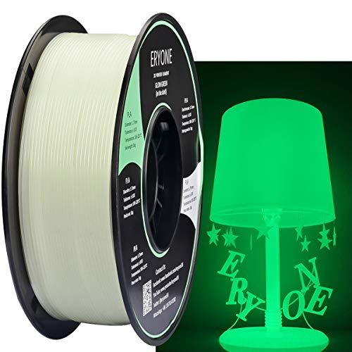 Filamento PLA 1.75 mm Blanco, PLA Luminoso, Verde Brilla en la Oscuridad, Filamento de Impresora 3D ERYONE, 1 kg 1 Carrete