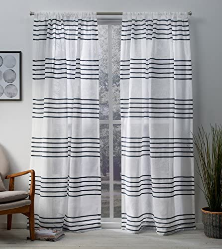 Exclusive Home Curtains Monet Pleated Sheer Linen Cabana Stripe Window Curtain Panel Pair with product image