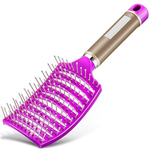 Entlüftete Entwirrende Haarbürste Gebogene Haarbürste Haarstyling Bürste für Langes, Dickes, Lockiges, Nasses Haar, Unisex (Lila)
