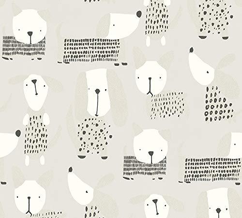 A.S. Création Papiertapete Boys & Girls 6 Tapete mit niedlichen Hunden 10,05 m x 0,53 m beige grau weiß Made in Germany 367553 36755-3