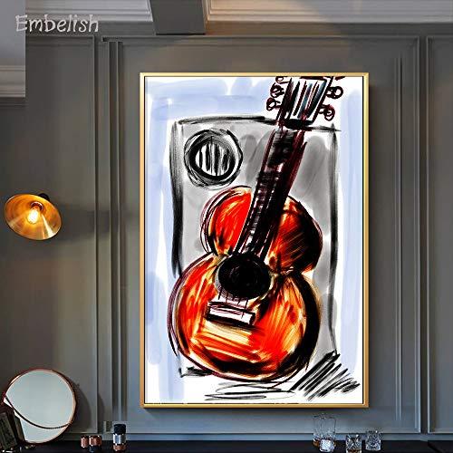 1000Jigsaw Puzzles Classic Jigsaw Puzzle Piezas en Adultos y niños, DIY Hecho a Mano - Adult Puzzles Difficult Noctilucent Growups Puzzle Barra de Instrumentos Musicales de Guitarra 50x75cm