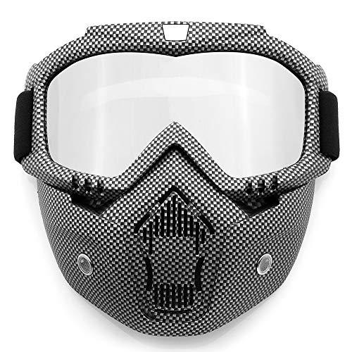SPOSUNE Motorcycle Goggles Detachable Face Mask, ATV Dirt Bike Paintball Goggle Anti-Scratch UV400 Eyewear for Men Women