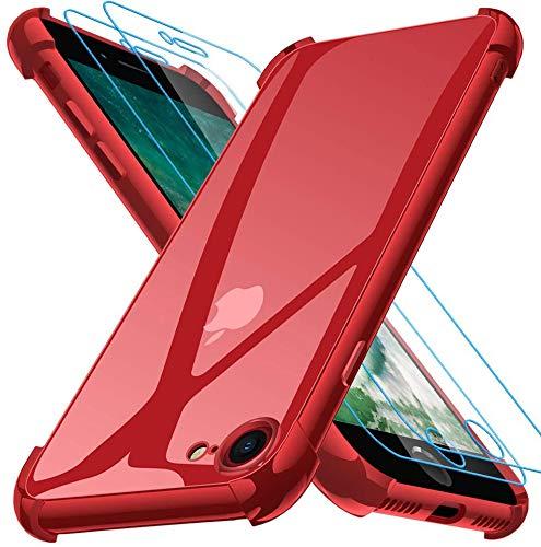 Joyguard Funda Compatible con iPhone SE 2020 con 2 Protector de Pantalla, Funda para iPhone 8 Funda para iPhone 7 Funda para iPhone SE 2020-4.7 Pulgada Rojo