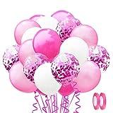 Coriandoli Palloncini, 60 Pezzi Palloncini in Lattice e 2 fasce colorate, Confetti Balloon...