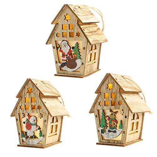 JUSTDOLIFE Christmas Hanging Ornament La Cute Wood House LED Illumina L Ornamento Dell Albero Di Natale