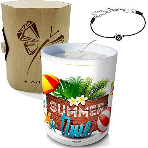 ArtGosse - Vela con joya decorada con cristales de Swarovski® • Cera vegetal perfumada monoï de Tahití • Caja de regalo (Summer Time Elegance), color negro